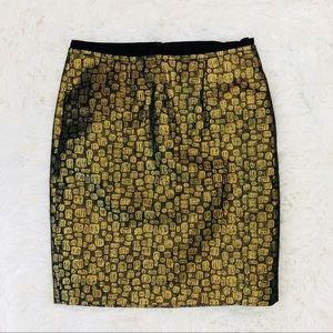 LOFT gold pencil skirt